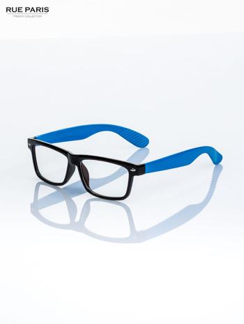 Niebiesko-czarne okulary zerówki kujonki typu WAYFARER NERDY                                  zdj.                                  1