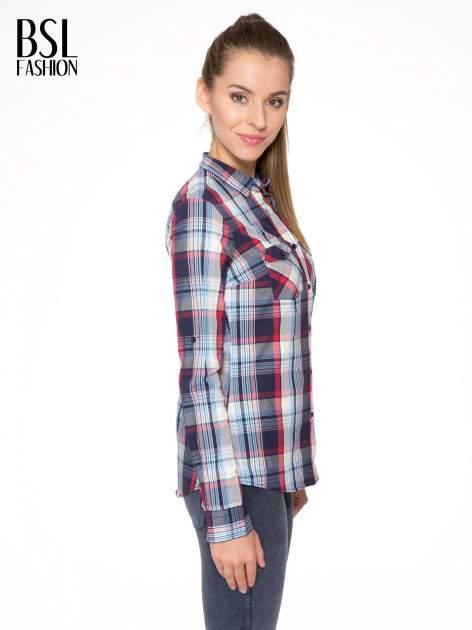 Niebiesko-czerwona koszula w kratę z kieszeniami                                  zdj.                                  3
