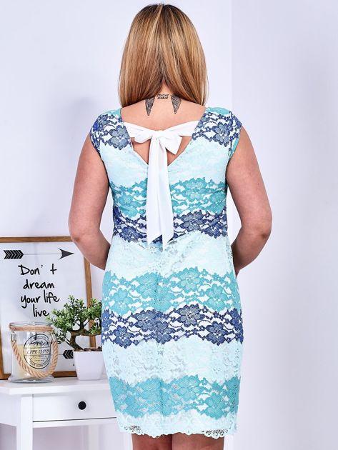 Niebiesko-zielona koronkowa sukienka PLUS SIZE                              zdj.                              2