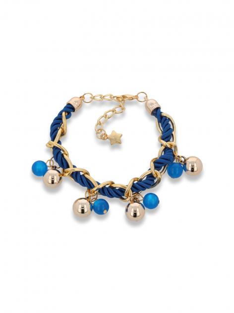 Niebiesko - złota bransoletka z zawieszkami