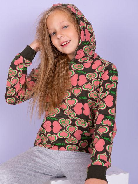 O'NEILL Khaki-koralowa bluza dla dziewczynki w serduszka                              zdj.                              1