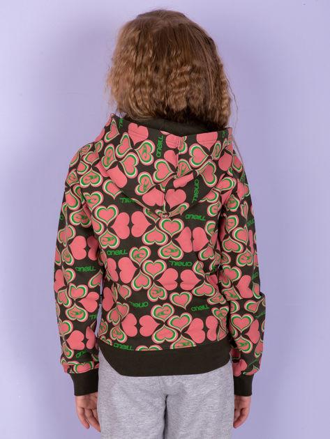 O'NEILL Khaki-koralowa bluza dla dziewczynki w serduszka                              zdj.                              3