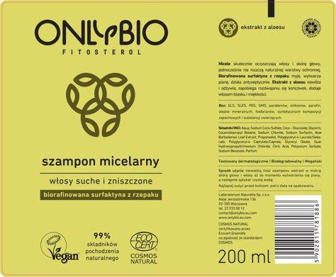 ONLYBIO Szampon micelarny do włosów suchych i zniszczonych 200 ml                              zdj.                              2