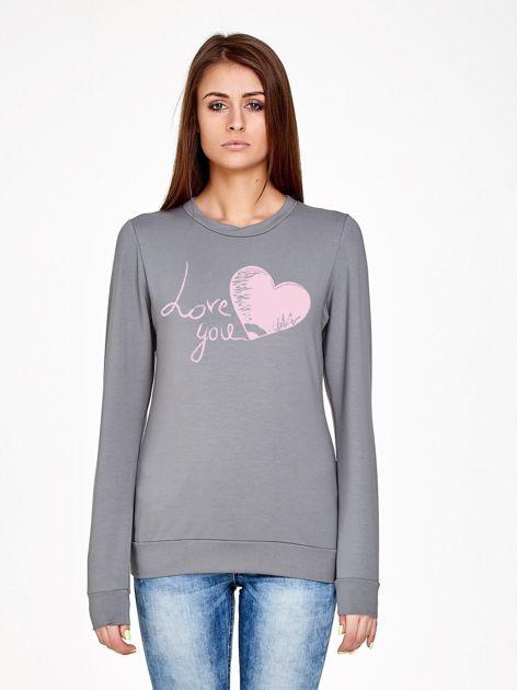Oliwkowa bluza z napisem LOVE YOU