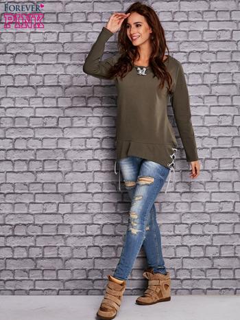 Oliwkowa bluza z wiązaniami                                   zdj.                                  4