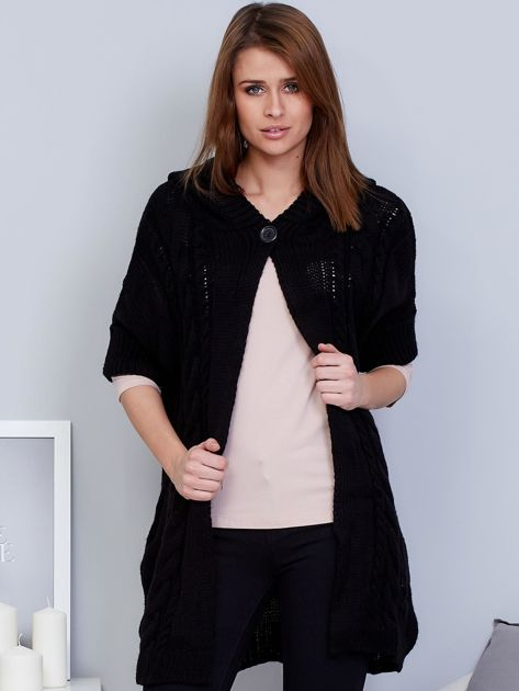 Otwarty sweter z warkoczowym wzorem i kapturem czarny                              zdj.                              1