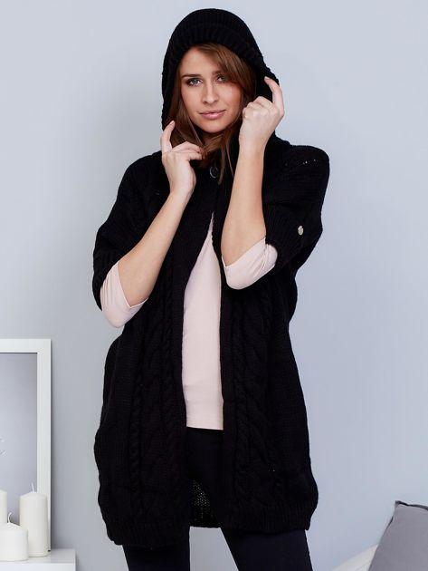 Otwarty sweter z warkoczowym wzorem i kapturem czarny                                  zdj.                                  6