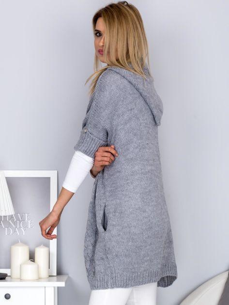 Otwarty sweter z warkoczowym wzorem i kapturem jasnoszary                              zdj.                              5