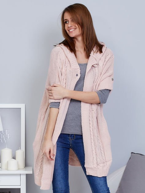 Otwarty sweter z warkoczowym wzorem i kapturem różowy                              zdj.                              7