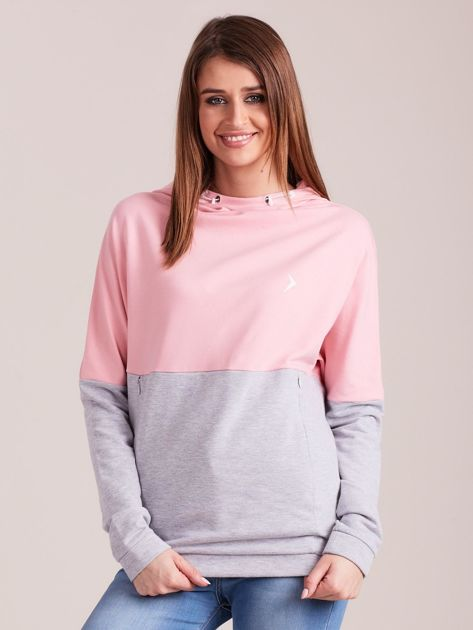 Outhorn Szaro-różowa bluza z kapturem i kieszeniami                              zdj.                              1