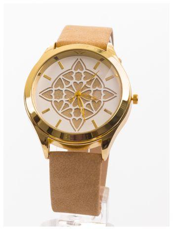 Ozdobny damski zegarek. Tarcza ozdobiona ładnym motywem.                                  zdj.                                  1
