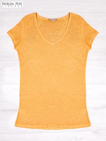 PATRIZIA PEPE Pomarańczowy t-shirt z trójkątnym dekoltem                              zdj.                              1