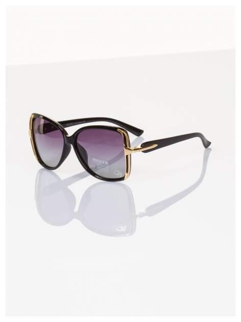 POLARYZACJA Eleganckie czarne okulary stylizowane na GUCCI ze złotymi bokami+GRATISY                                  zdj.                                  1