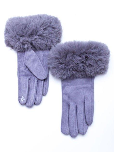 PREMIUM Dotykowe eleganckie zamszowe szare rękawiczki damskie