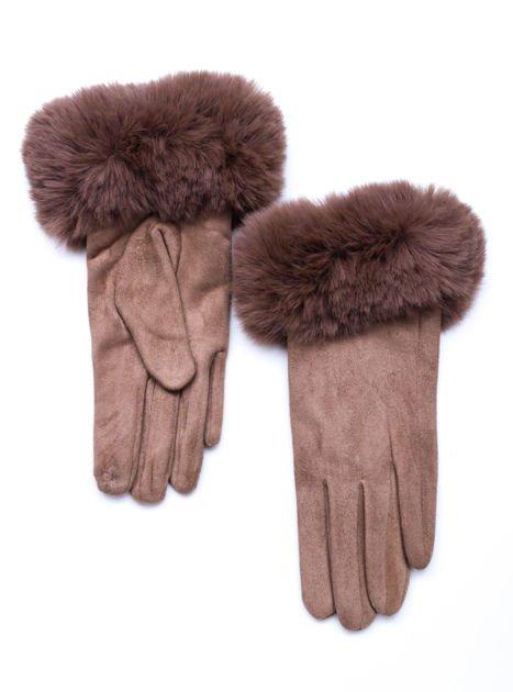 PREMIUM Eleganckie zamszowe beżowe rękawiczki damskie
