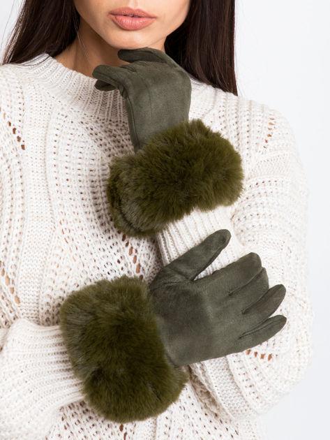 PREMIUM Eleganckie zamszowe zielone rękawiczki damskie