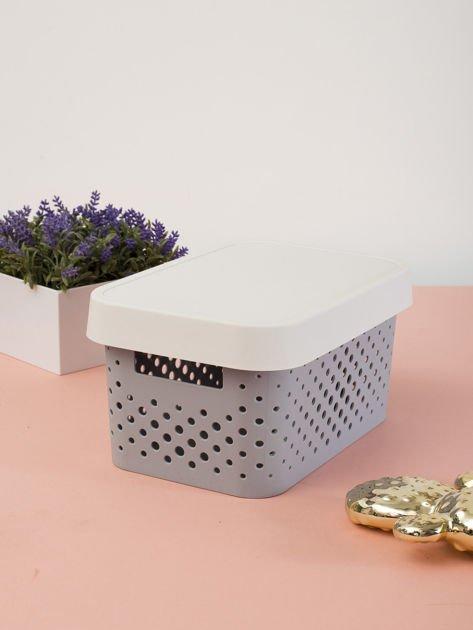 Pastelowe jasnoszare pudełko do przechowywania z pokrywką                              zdj.                              2