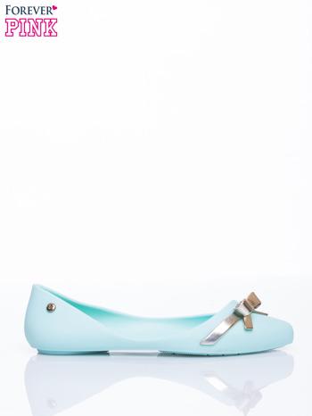 Pastelowoniebieskie gumowe baleriny Wonder z metaliczną kokardką