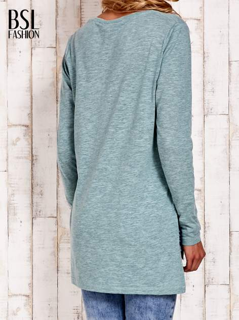 Pastelowozielona bluzka z rozporkami z boku                                  zdj.                                  4