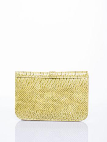 Pastelowozielona kopertówka z motywem skóry krokodyla                                  zdj.                                  2