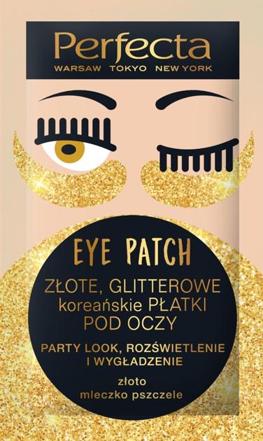 """Perfecta Eye Patch Złote Glitterowe Koreańskie Płatki pod oczy  1op.-2szt"""""""