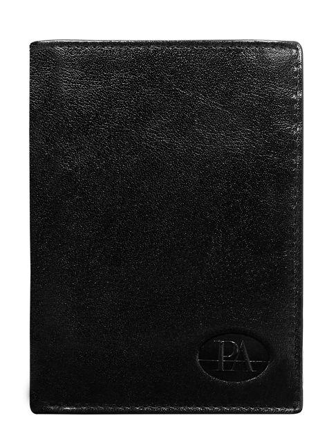 Pionowy skórzany portfel męski czarny bez zapięcia