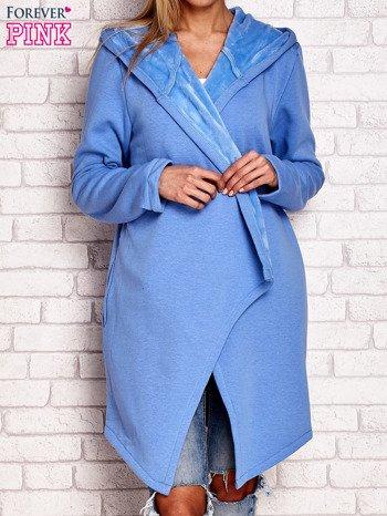 Płaszcz dresowy z kapturem niebieski                              zdj.                              1