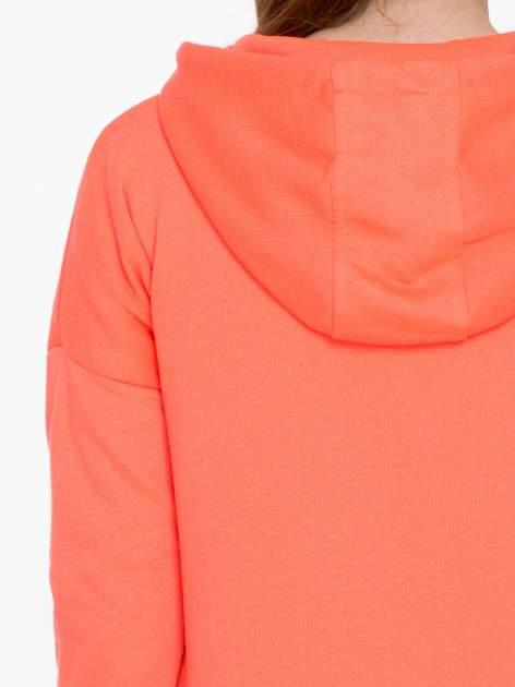 Pomarańczowa bluza damska z kapturem zasuwana na suwak                                  zdj.                                  8
