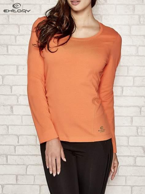 Pomarańczowa bluzka sportowa z dekoltem U                                  zdj.                                  1