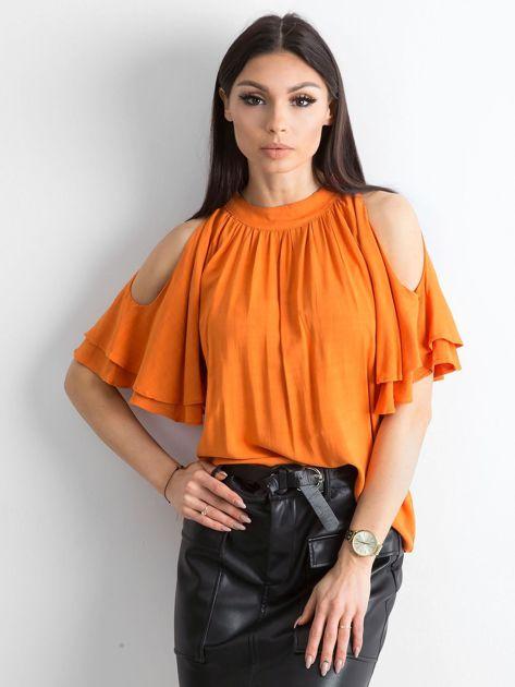 Pomarańczowa bluzka z wycięciami na ramionach                              zdj.                              1