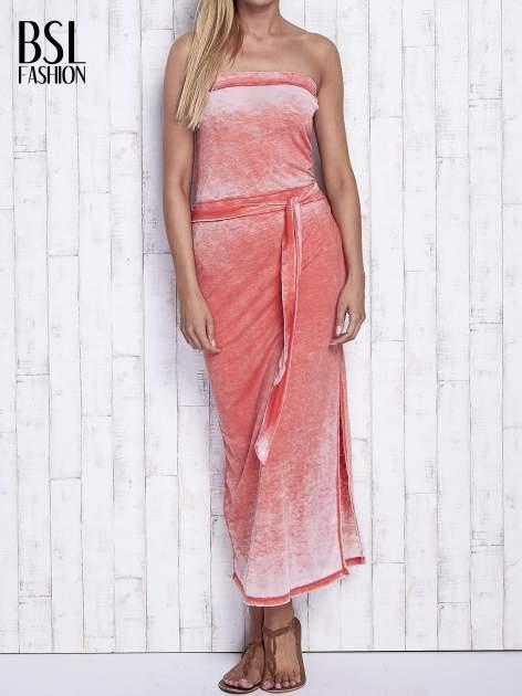 Pomarańczowa dekatyzowana sukienka maxi na gumkę                                  zdj.                                  1