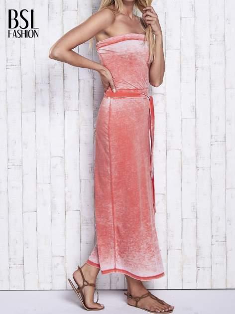 Pomarańczowa dekatyzowana sukienka maxi na gumkę                                  zdj.                                  3