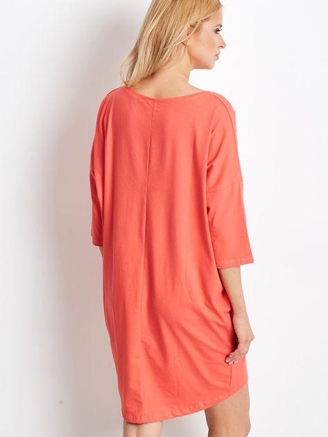 Pomarańczowa dresowa sukienka oversize                              zdj.                              3