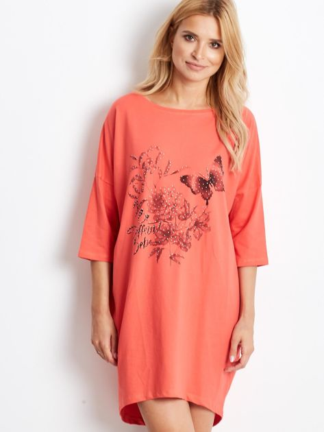 Pomarańczowa dresowa sukienka oversize                              zdj.                              4