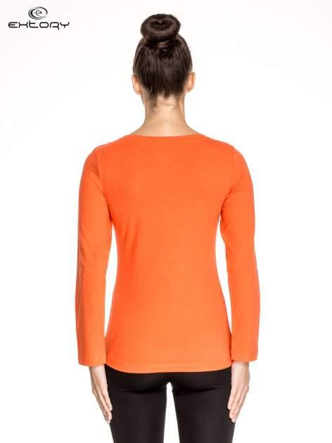 Pomarańczowa gładka bluzka sportowa z dekoltem U PLUS SIZE                                  zdj.                                  3