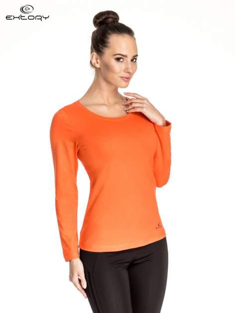 Pomarańczowa gładka bluzka sportowa z dekoltem U PLUS SIZE