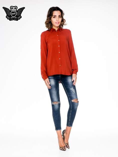 Pomarańczowa koszula damska z zamkiem z tyłu                                  zdj.                                  4