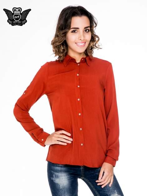 Pomarańczowa koszula damska z zamkiem z tyłu                                  zdj.                                  1