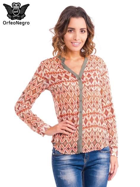 Pomarańczowa koszula w etniczne wzory z kontrastową listwą                                  zdj.                                  1