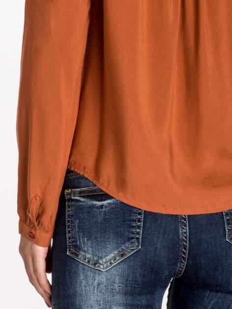 Pomarańczowa koszula ze wzorzystą wstawką w stylu etno                                  zdj.                                  6