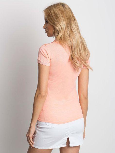 Pomarańczowa koszulka polo z motywem paisley                              zdj.                              2