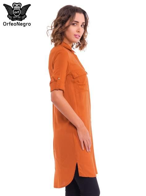 Pomarańczowa koszulotunika z kieszonkami                                  zdj.                                  5
