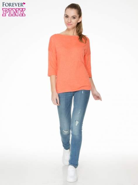 Pomarańczowa luźna bluzka z rękawem 3/4                                  zdj.                                  2