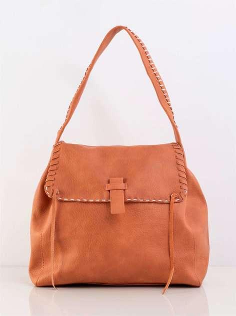 Pomarańczowa miękka torba z klapką