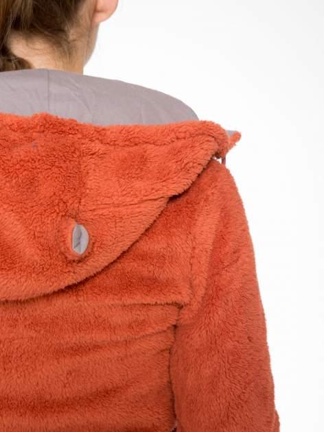 Pomarańczowa polarowa bluza miś z kapturem z uszkami i pomponami                                  zdj.                                  11