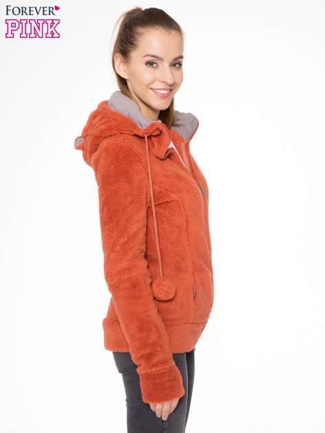 Pomarańczowa polarowa bluza miś z kapturem z uszkami i pomponami                                  zdj.                                  3