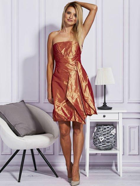Pomarańczowa sukienka bombka z połyskiem                                  zdj.                                  4