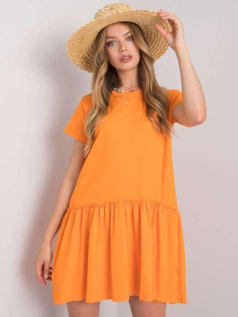 Pomarańczowa sukienka z falbaną Cammie