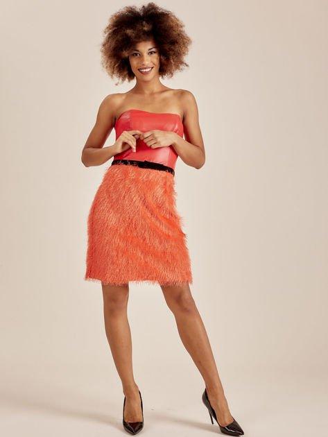 Pomarańczowa sukienka z frędzelkami                               zdj.                              4