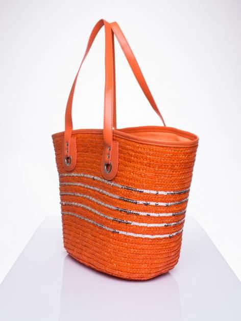 Pomarańczowa torba koszyk plażowy z cekinami                                  zdj.                                  2
